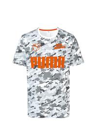 Camiseta con cuello circular de camuflaje gris de Puma