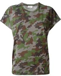 Camiseta con cuello circular de camuflaje verde oscuro de Saint Laurent