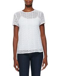 Camiseta con cuello circular de crochet blanca de Diane von Furstenberg