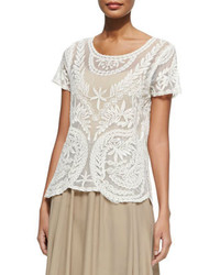Camiseta con cuello circular de crochet blanca de Neiman Marcus