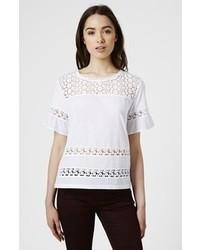 Camiseta con cuello circular de crochet blanca de Topshop