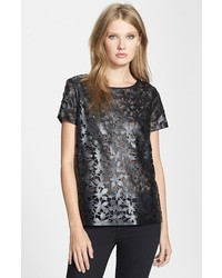 Camiseta con cuello circular de cuero negra de Diane von Furstenberg