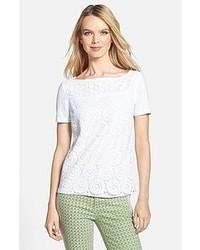 Camiseta con cuello circular de encaje blanca de Tory Burch