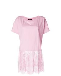 Camiseta con cuello circular de encaje rosada de Twin-Set