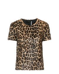 Camiseta con cuello circular de leopardo marrón