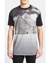 Camiseta con cuello circular de malla estampada en negro y blanco