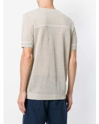 Camiseta con cuello circular de punto gris de Roberto Collina
