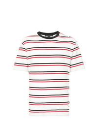 Camiseta con cuello circular de rayas horizontales blanca de Alexander Wang