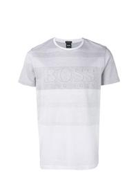 Camiseta con cuello circular de rayas horizontales blanca de BOSS HUGO BOSS
