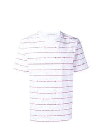 Camiseta con cuello circular de rayas horizontales blanca de Calvin Klein Jeans