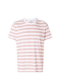 Camiseta con cuello circular de rayas horizontales blanca de Dondup