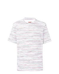 Camiseta con cuello circular de rayas horizontales blanca de Missoni