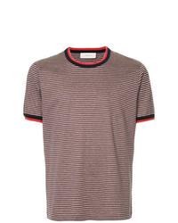 Camiseta con cuello circular de rayas horizontales burdeos de Cerruti 1881