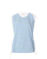 Camiseta con cuello circular de rayas horizontales celeste