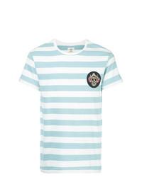 Camiseta con cuello circular de rayas horizontales celeste de Kent & Curwen