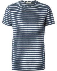 Camiseta con cuello circular de rayas horizontales en azul marino y blanco