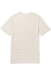 Camiseta con cuello circular de rayas horizontales en beige