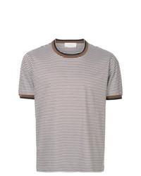 Camiseta con cuello circular de rayas horizontales en beige de Cerruti 1881