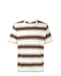 Camiseta con cuello circular de rayas horizontales en beige de Saint Laurent