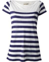 Camiseta con cuello circular de rayas horizontales en blanco y azul marino
