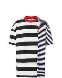Camiseta con cuello circular de rayas horizontales en blanco y azul marino de Burberry