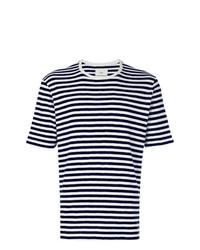 Camiseta con cuello circular de rayas horizontales en blanco y azul marino de Folk