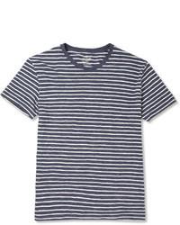 Camiseta con cuello circular de rayas horizontales en blanco y azul marino de J.Crew