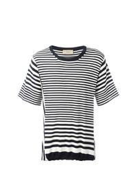 Camiseta con cuello circular de rayas horizontales en blanco y azul marino de Maison Flaneur