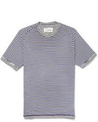 Camiseta con cuello circular de rayas horizontales en blanco y azul marino de Maison Martin Margiela