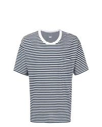 Camiseta con cuello circular de rayas horizontales en blanco y azul marino de VISVIM