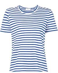 Camiseta con cuello circular de rayas horizontales en blanco y azul de A.L.C.