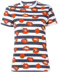Camiseta con cuello circular de rayas horizontales en blanco y azul de Au Jour Le Jour