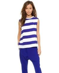Camiseta con cuello circular de rayas horizontales en blanco y azul de Camilla And Marc
