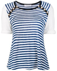 Camiseta con cuello circular de rayas horizontales en blanco y azul de Derek Lam 10 Crosby
