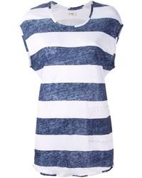 Camiseta con cuello circular de rayas horizontales en blanco y azul de Humanoid