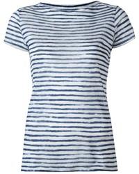 Camiseta con cuello circular de rayas horizontales en blanco y azul de Majestic Filatures