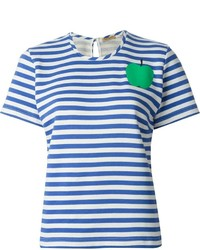 Camiseta con cuello circular de rayas horizontales en blanco y azul de Peter Jensen