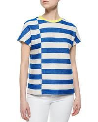 Camiseta con cuello circular de rayas horizontales en blanco y azul de Tory Burch