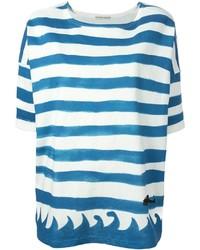 Camiseta con cuello circular de rayas horizontales en blanco y azul de Tsumori Chisato