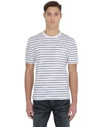 Camiseta con cuello circular de rayas horizontales en blanco y negro de Brooks Brothers