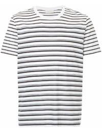 Camiseta con cuello circular de rayas horizontales en blanco y negro de Cerruti