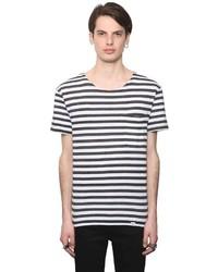 Camiseta con cuello circular de rayas horizontales en blanco y negro de Cheap Monday