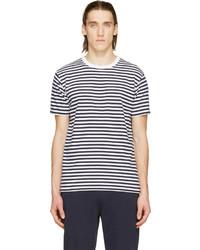 Camiseta con cuello circular de rayas horizontales en blanco y negro de Coolmax