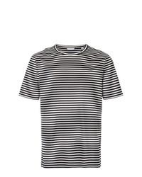 Camiseta con cuello circular de rayas horizontales en blanco y negro de Gieves & Hawkes