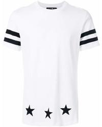 Camiseta con cuello circular de rayas horizontales en blanco y negro de Hydrogen