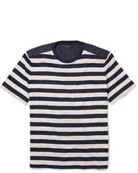 Camiseta con cuello circular de rayas horizontales en blanco y negro de Lanvin
