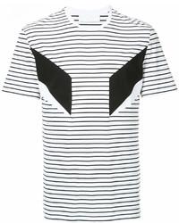 Camiseta con cuello circular de rayas horizontales en blanco y negro de Neil Barrett