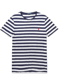 Camiseta con cuello circular de rayas horizontales en blanco y negro de Polo Ralph Lauren