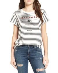 Camiseta con cuello circular de rayas horizontales en blanco y negro de RVCA