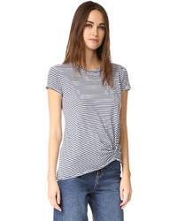 Camiseta con cuello circular de rayas horizontales en blanco y negro de Stateside